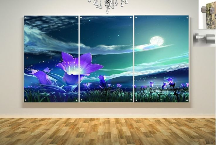 Wall Art in Floating Acrylic Glass Plexiglass Modern Art Moon Decor 3 Panel #Modern