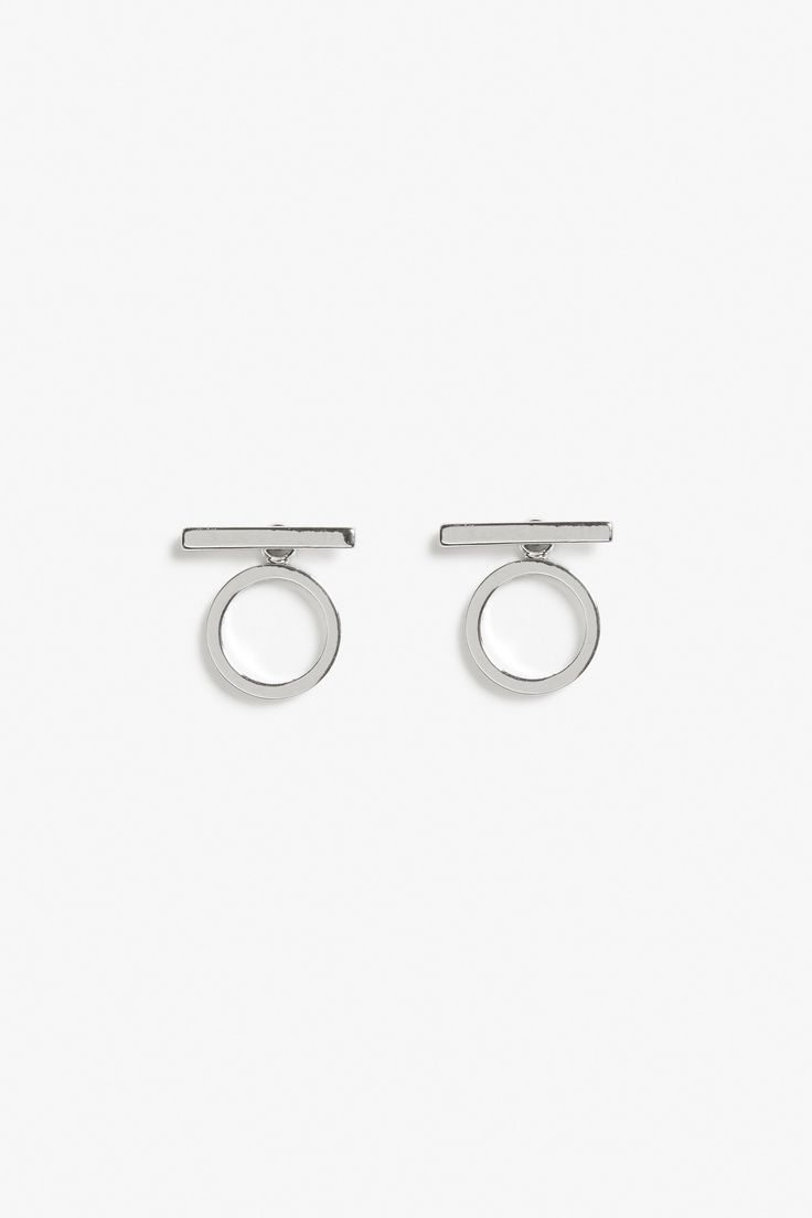 Monki Circle and line earrings  in Silver