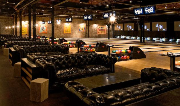 Couches at Brooklyn Bowl: Brooklynbowl, Bowls Alley, Vintage Chesterfield, Williamsburg Bowls, Corks Floors, Bowling, Brooklyn Bowls, Chesterfield Sofas, Alley Ideas