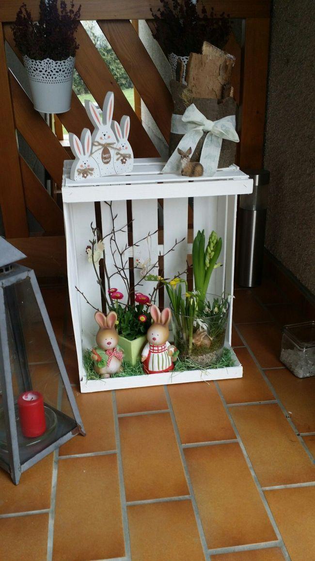 Osterdeco Obstkisten Pinterest Ostern Osterkranz Und Osterhandwerk Ostern Basteln Easter Wreaths Easter Decorations Easter Diy