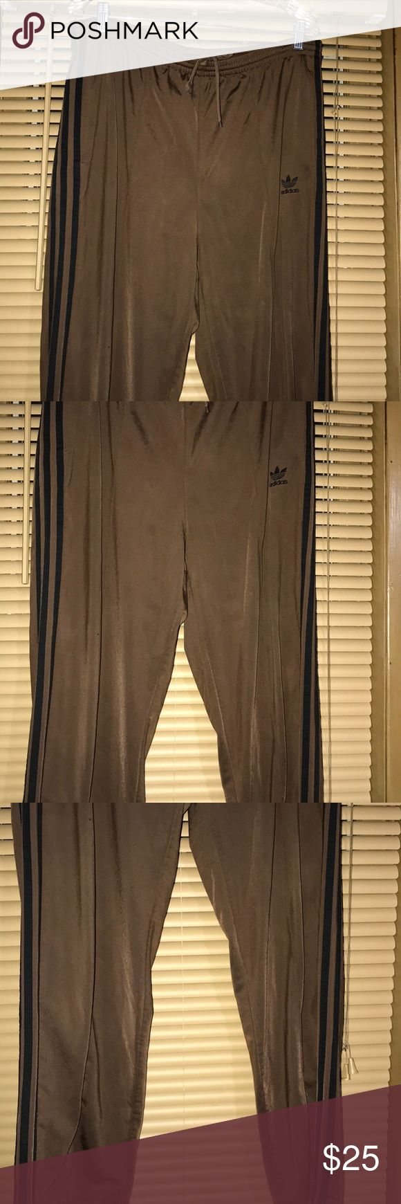 ADIDAS BROWN big and tall men's jogging pants Brown pants with draw string tie in front big and tall men Pants Sweatpants & Joggers