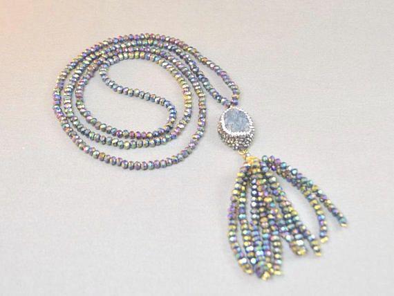 Turkish Tassel Necklace Grey Drusy Necklace Gray Drop Druzzy