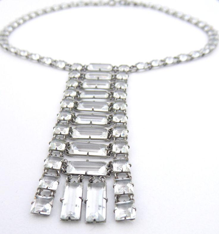 Vintage Platinon Wedding Sautoir Necklace