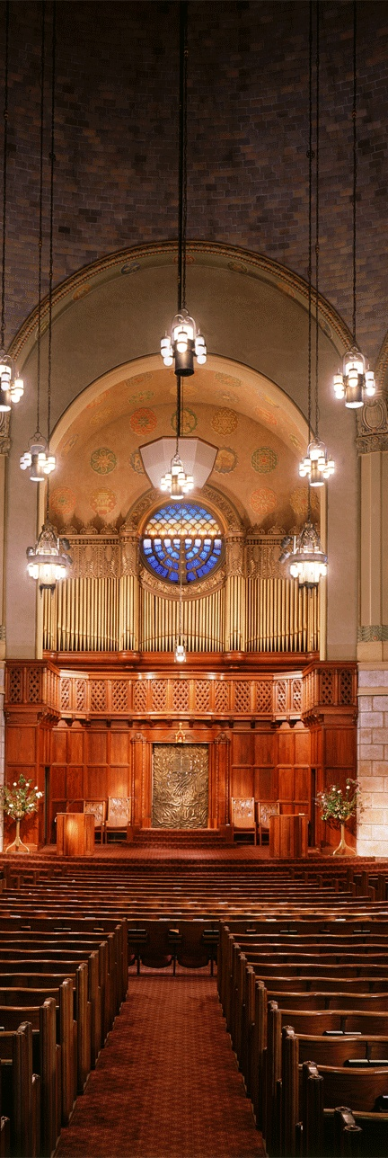 "Interior of Temple Beth Israel, a Reform Jewish synagogue in Portland, Oregon. Described as ""Byzantine architecture,"" its design was inspired by the Alte Synagoge (Steelerstrasse Synagogue) in Essen, Germany) that was destroyed on  Kristallnacht. This congregation, founded in 1858, is among the oldest on the west coast."