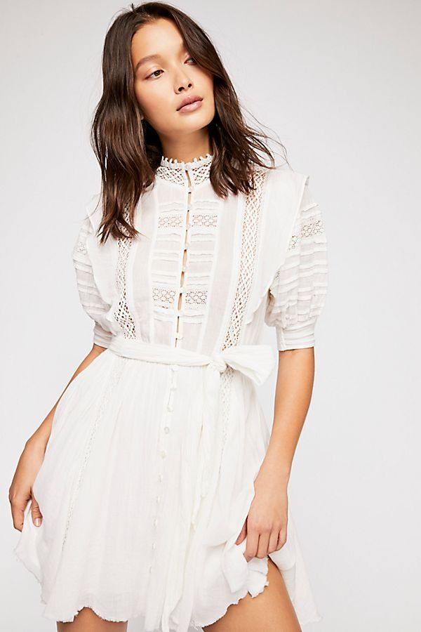 be7bb553d86f Sydney Dress - White Cotton Mini Dress with Top Lace Details Free People  Dress