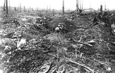 The Battle of Delville Wood was very near the Somme and brutal for all those involved. Not many survived but the mainly South African allied troops held on in the end against the Germans  Absolute devastation of the woods; carnage stretch along the horizon.