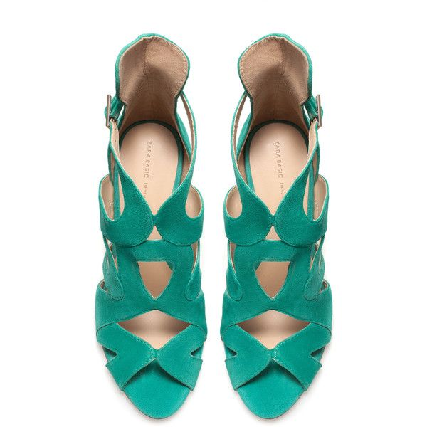 Zara Strappy High-Heel Sandals (26 AUD) ❤ liked on Polyvore featuring shoes, sandals, heels, zara, sapatos, green, heeled sandals, zara footwear, strappy heel shoes and zara sandals