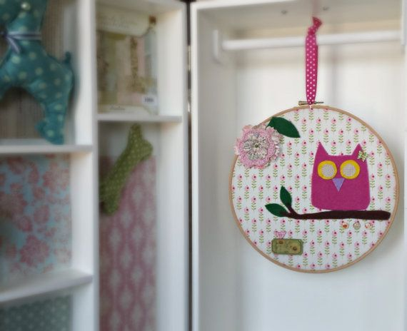 Pink owl on a branch hoop art  kid's room wall decor  by Renouitas
