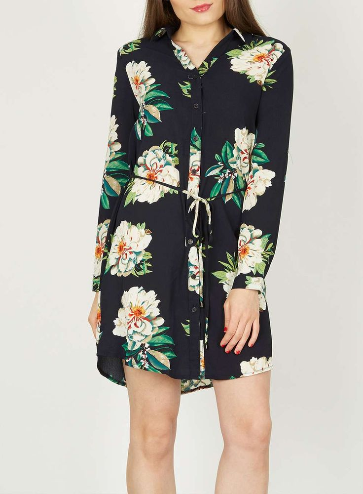 Womens *Izabel London Navy Floral Print Shirt Dress- Navy