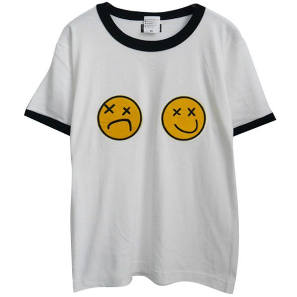 Chicnova Fashion Chic Emoji Print T-shirt ($20) ❤ liked on Polyvore featuring tops, t-shirts, shirts, t shirts, jersey cotton t shirts, print tee, print shirts and pattern t shirt