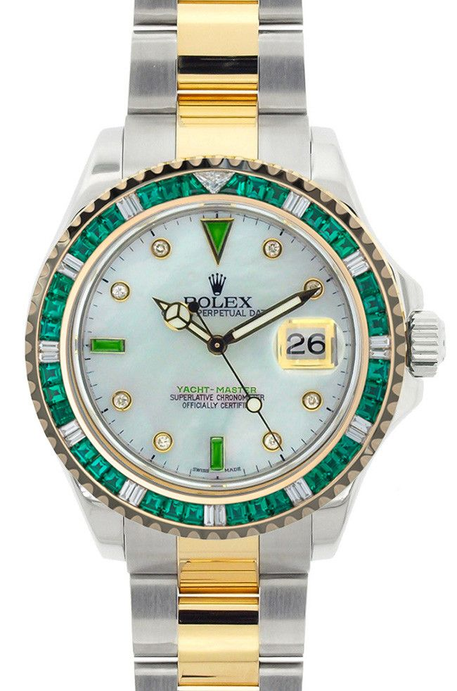 030e55895842 Rolex Yachtmaster Two Tone MOP Emerald Dial   Green Stone Bezel ...
