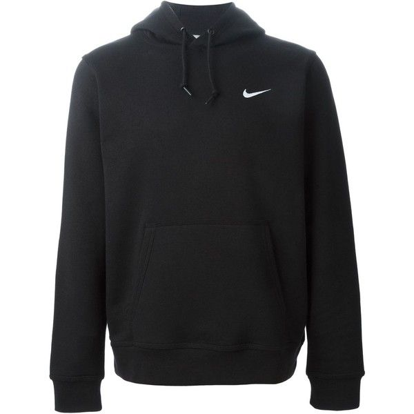 Nike Club Hoody Sweatshirt (£43) ❤ liked on Polyvore featuring tops, hoodies, sweatshirts, jackets, jumpers, nike, black, nike hoodie, black long sleeve top and black sweat shirt