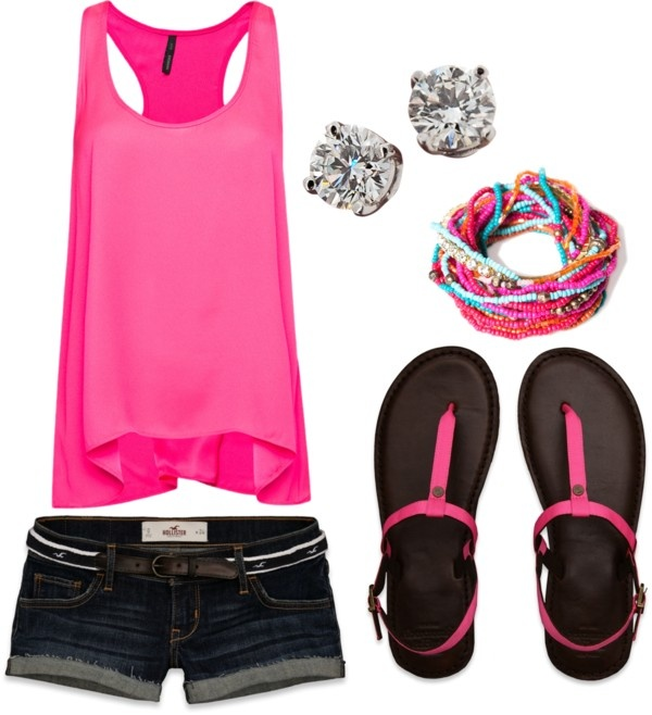 Lazy beach day pink tank top with shorts outfit <3 i love the strapy sandals diamond studs and matching bracelet