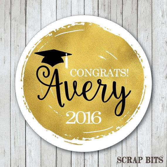 Personalized faux gold foil graduation stickers or tags