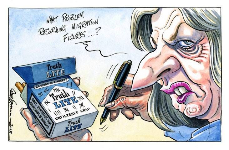 30 July 2013 - Teresa May does immigration on the back of a fag packet.