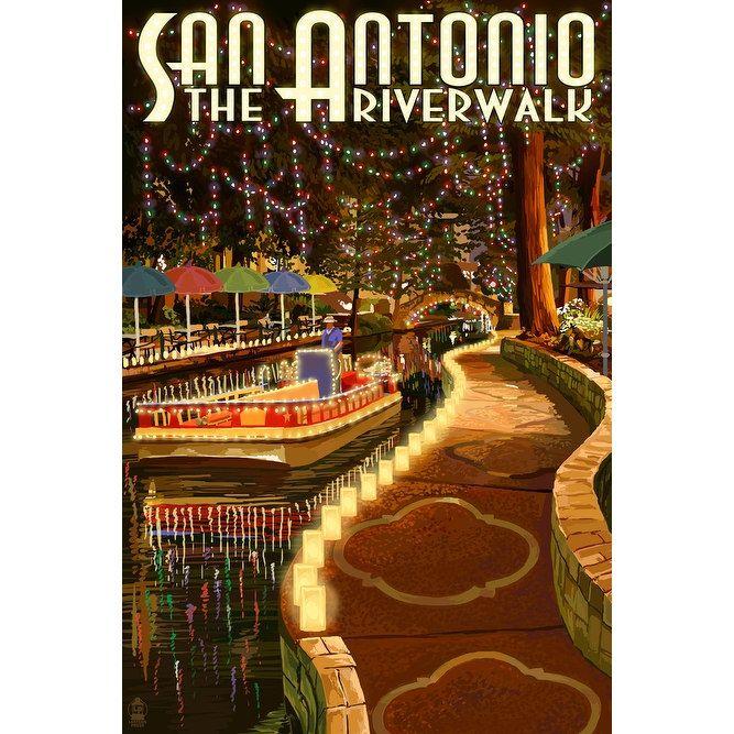 San Antonio, TX - The Riverwalk - LP Artwork (100% Cotton Towel Absorbent), Blue wash