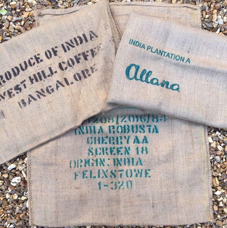 Used Coffee Bean Sacks Indian Plantation A 3 Printed Text Set Bag Bench Cushions  | eBay