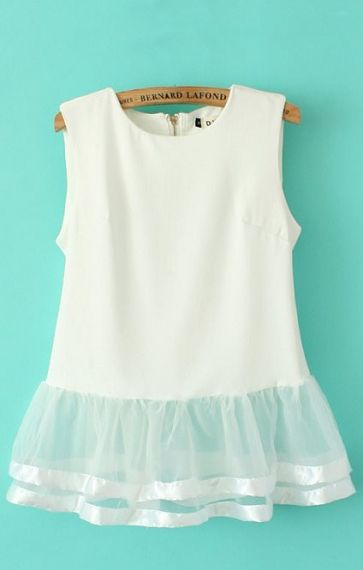 Mesh Splicing Sleeveless Chiffon Blouse