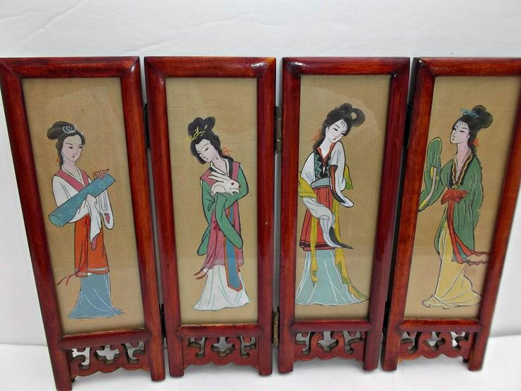 Vintage Asian Tabletop Folding Screen Geisha Girls Birds Flowers  offered by rubylane shop Saltymaggie's Treasures