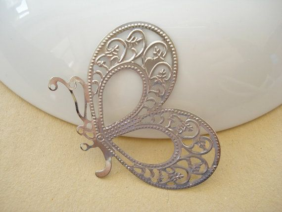 10pcs Antiqued Silver Filigree BUTTERFLY 33X46mm by yooounique, $2.85
