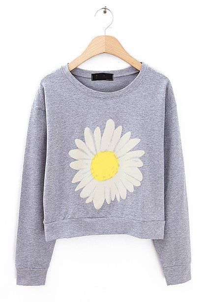 Grey Long Sleeve Sunflower Print Crop Sweatshirt - Sheinside.com