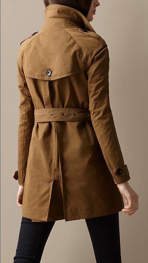 Short Cotton Satin Trench Coat   Burberry