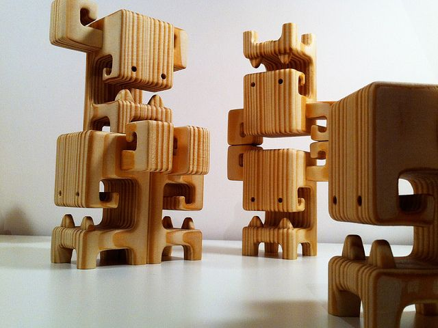 BOOSO's - they love to do acrobatics!   Spruce Wood Designer Toys by Pepe Hiller