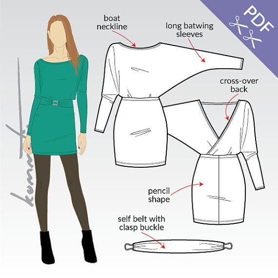 XS-XL Mini dress with kimono sleeves and self belt PDF sewing