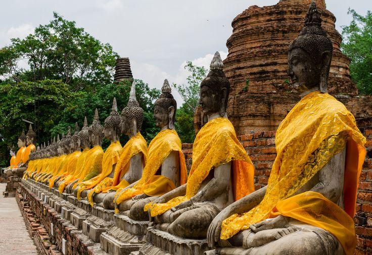 Thai Buddha statue in Wat Yai chai mong kol , Ayutthaya Thailand