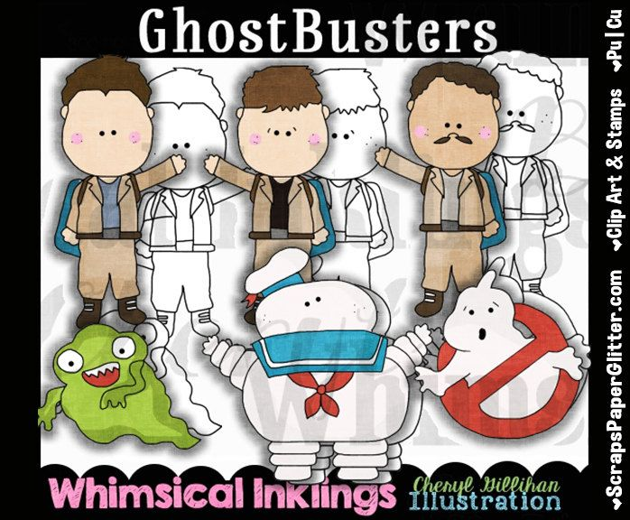 Ghostbusters Clip Art, BONUS Lineart, Commercial Use, Digital Stamps, Clipart, Black & White, Instant Download, Movie, Ghost Busters by ResellerClipArt on Etsy