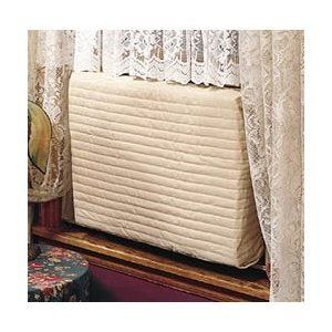 """Indoor Air Conditioner Cover -- (Beige) Small -- 2-Pack by Endraft. $34.99. Size: Small - 12 -14""""H x 18 -21""""W x 2""""D. Seal your air conditioner in winter to prevent heat loss, as well as keep out dirt.. Color: Beige. Double insulation has windblock foam liner and quilted machine washable poly/cotton cover.. While window air conditioners really ought to be removed during cold winter months, these indoor air conditioner covers will help to prevent drafts through most..."""