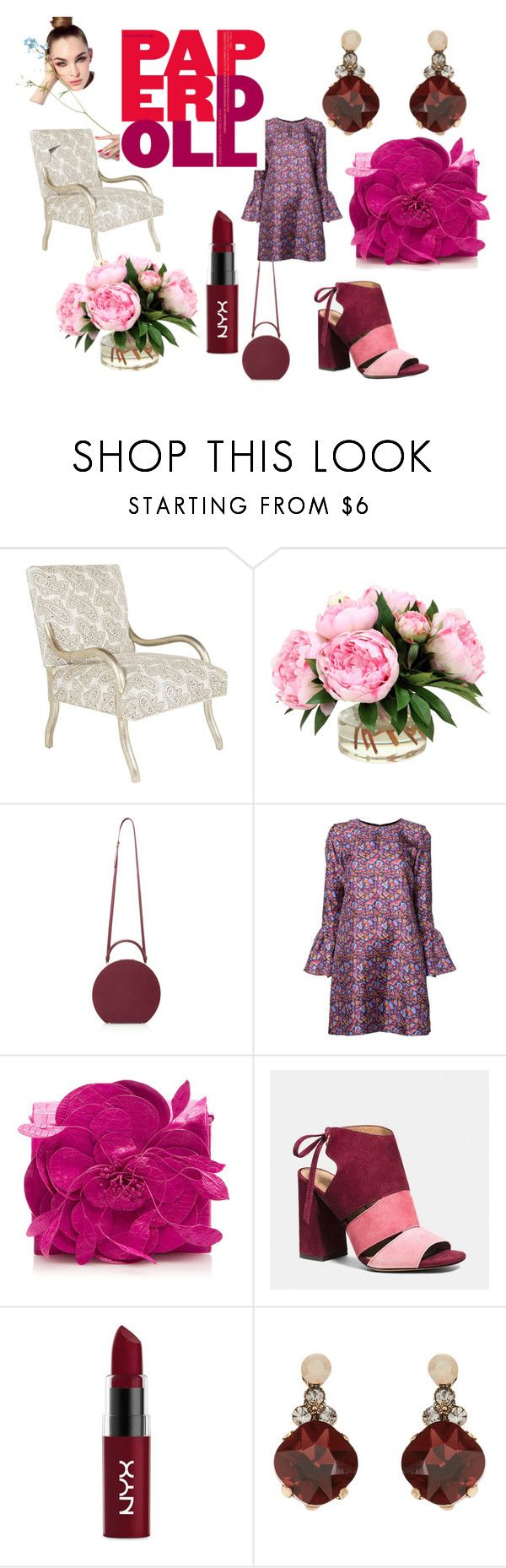 """Burgundy"" by malargo23 ❤ liked on Polyvore featuring La DoubleJ, Nancy Gonzalez, Coach, NYX, Accessorize, SANDAL, bellsleeve and butterlipstick"