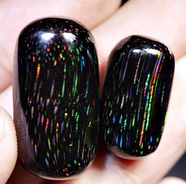 PAIR EXTREME RARE RAINY RAINBOW LASER INDONESIAN BLACK OPAL STONES 38.40 CR  indonesian opal , tree opal, indonesian black charcol opal