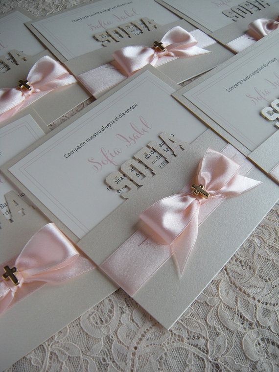 ~~~~ Samples ~~~~  Purchase this listing to order a sample set!  Sample sets include  1 Invitation 6 x 6 250 gsm 1 Invitation Envelope  champagne gold pearl paper, ribbon, gold or silver cross Size of the cross 14X10mm.  Samples can be customized. Send me all details about Christening / Baptism. Ill make invitation with your information. Ships first class mail within 3 business days of ordering. Shipping time about 10 days ~~~~ Invitations ~~~~  1 Invitation 6 x 6 250 gsm 1 Invitation…