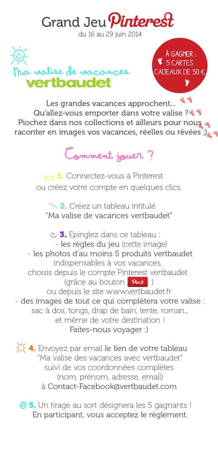 Jouez au #GrandJeuMaValisedeVacances avec @vertbaudet et tentez de gagner 5 cartes cadeaux de 50€ ! PS : pensez à ré-épingler ces règles du jeu dans votre tableau ! Règlement : http://vbdt.fr/jeupinterestvacances