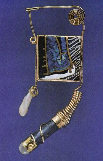NINE SKETCHES  I : COBALT     William Harper 1980  gold and silver cloisonné' enamel on copper;14 and 24 kt gold; bronze; pearl; antique glass; moonstone