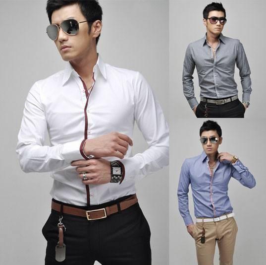 Men's Pastel Formal Shirts w/Striped Button