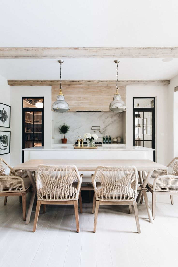 dine in kitchen // dining room // modern country kitchen // industrial pendant l…