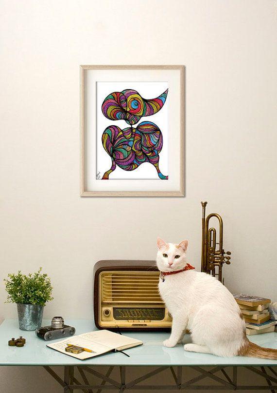 Paradise bird poster bird home decor art print tree by ArtChromata