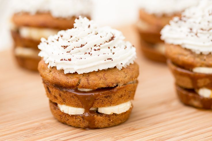 These vegan banana coconut cupcakes make an indulgent dessert. Layers of moist banana cake, caramel and banana slices topped with a coconut frosting.