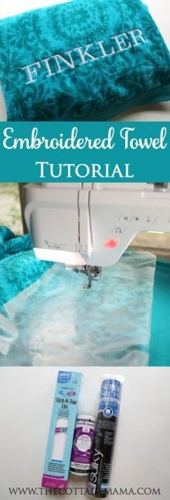 Embroidered Towel Tutorial - The Cottage Mama. Machine Embroidery Sewing Tutorial.