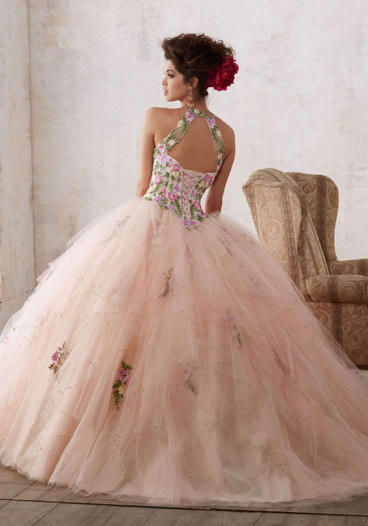 Coral and white lace quinceanera dresses