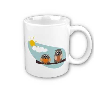 Funny owls - coffee mugs http://www.zazzle.com/funny_owls_on_branch_on_sunny_day_illustration_mug-168752284344770849