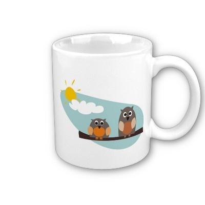 Funny owls - coffee mugs http://www.zazzle.com/funny_owls_on_branch_on_sunny_day_illustration_mug-168752284344770849