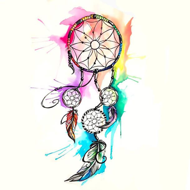 A mystical dreamcatcher tattoo design with bright watercolor splashed. Great piece for girls.