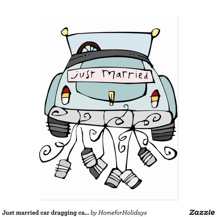 Gerade schleppende Dosen des verheirateten Autos Ankndigungspostkarte  Zazzlede