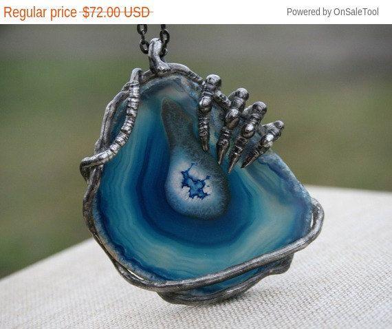agate necklace huge necklace blue rustic by Blacksmithworkshop
