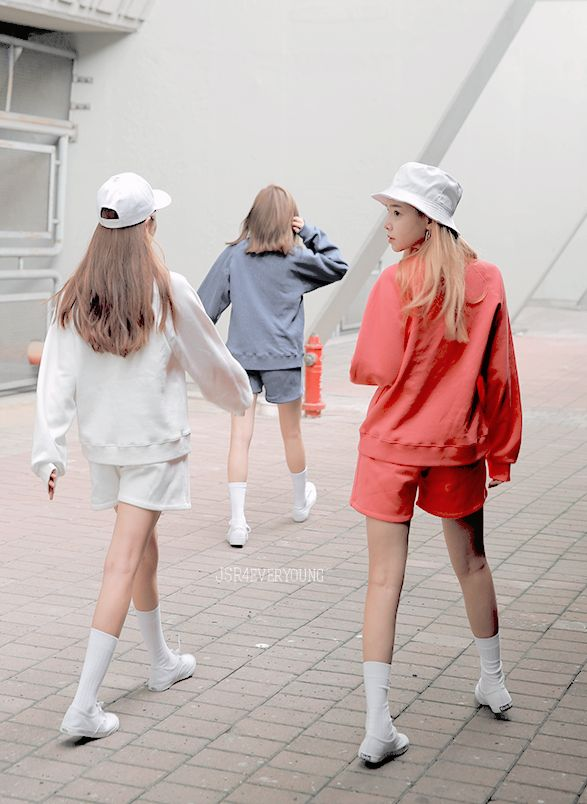 Style white outfit blue red bucket hat cap style minimal shoe long socks hair…