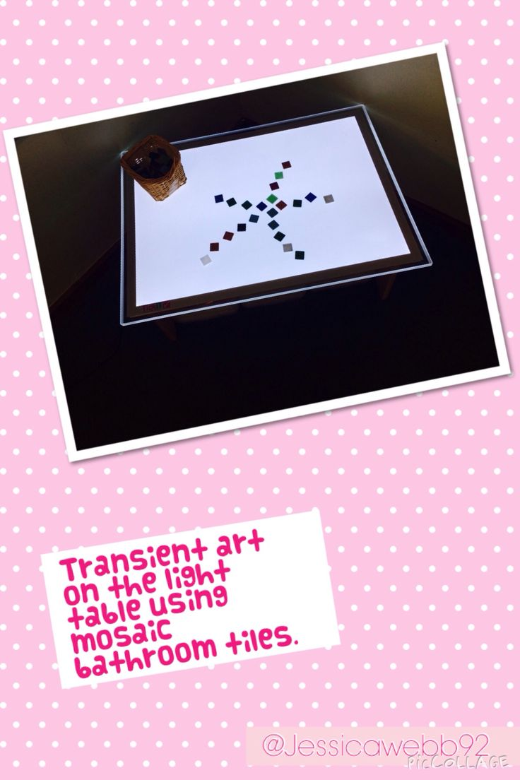 Transient art on the light table using bathroom mosaic tiles. EYFS