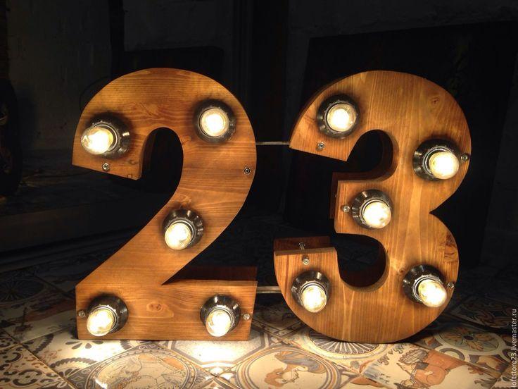 """Купить Декоративные деревянные цифры """"ЧИСЛО 23"""" - коричневый, буквы из дерева, деревянные буквы"""
